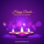 Purple background of diwali candles