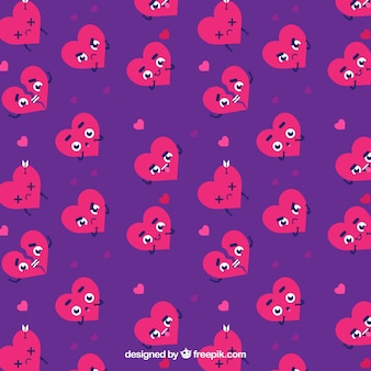 Purple background with characters of hearts