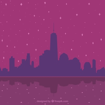 Purple background with city silhouette and stars