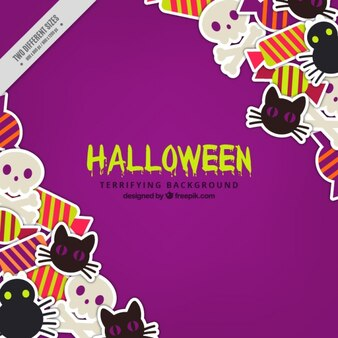 Purple background with colorful halloween items