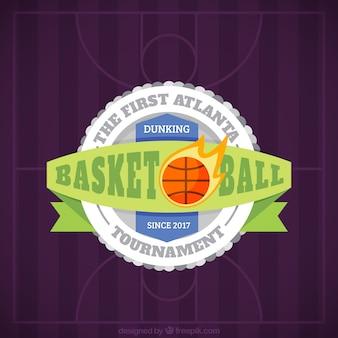 Purple background with decorative basketball badge