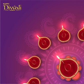 Purple background with decorative candles for diwali