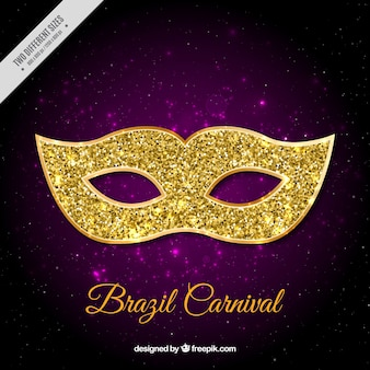 Purple background with glittering mask for brazilian carnival