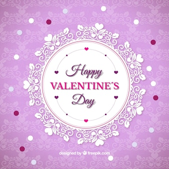 Purple background with lace valentine