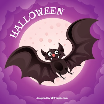 Purple background with moon and nice bat