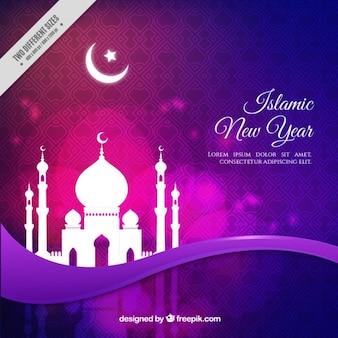 イスラム新年のモスクと紫の背景
