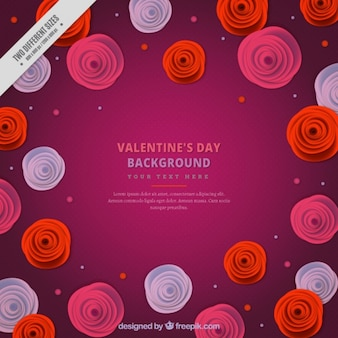 Purple background with round flowers for valentine's day