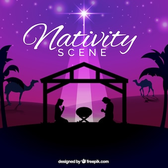 Purple background with silhouette of nativity scene
