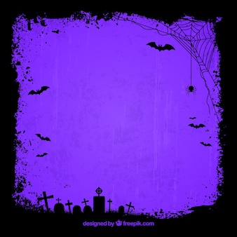 Purple background with silhouettes of tombs and spider web