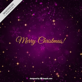Purple background with snowflakes and shiny stars