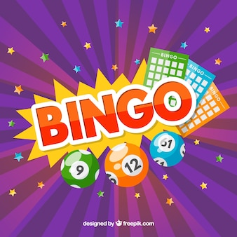 Purple background with stars and bingo elements