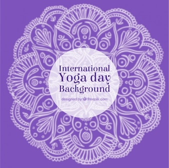 Purple background yoga day