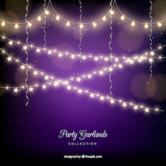 Purple bokeh background with string lights