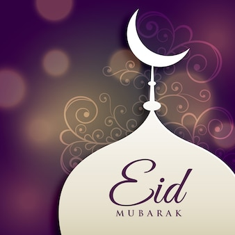 Purple bokeh design for eid mubarak