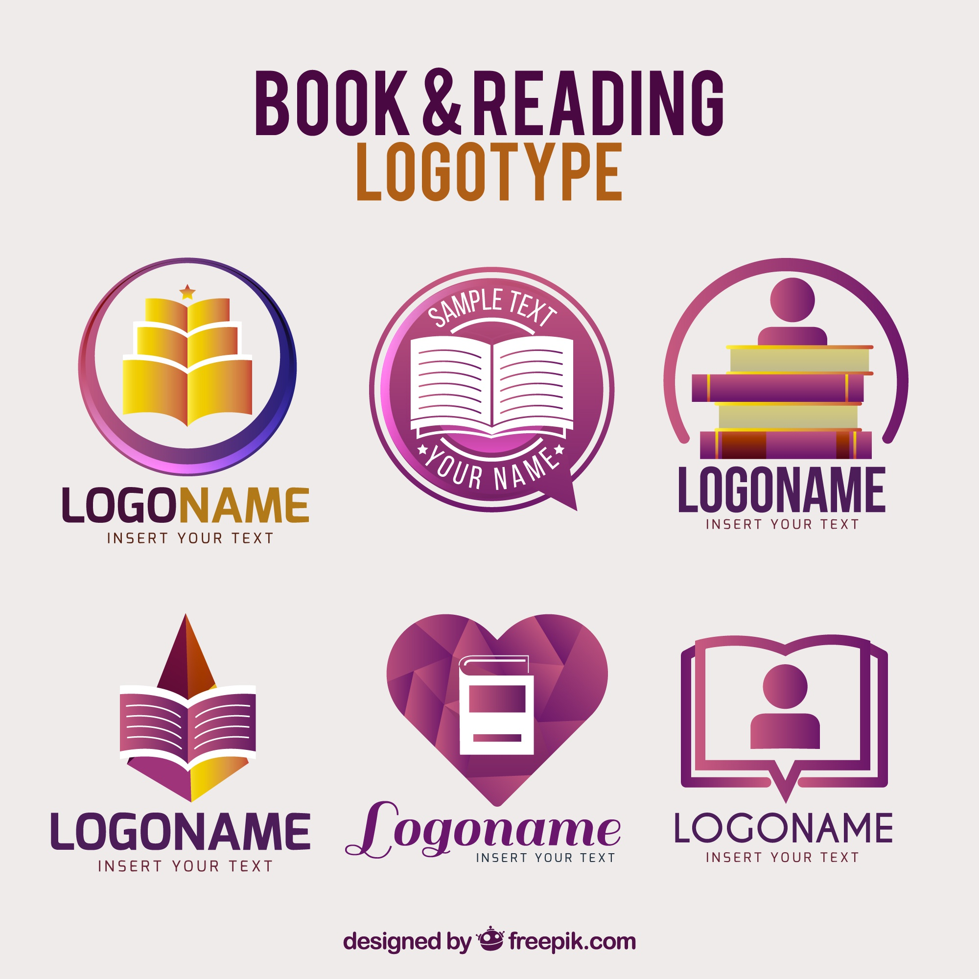 Purple book logos with different designs