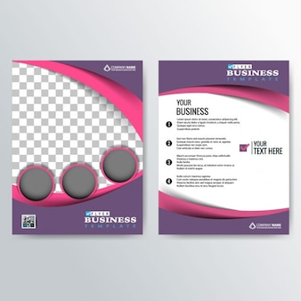 Purple brochure with pink wavy lines