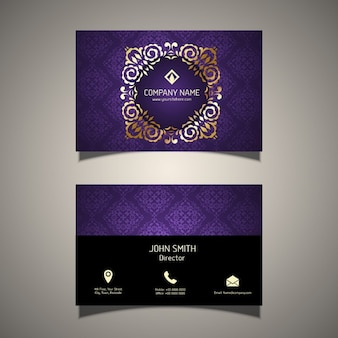 Purple business card with a golden ornamental frame