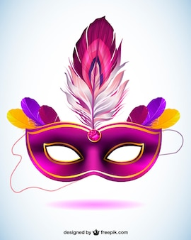 Purple carnival mask with a feather