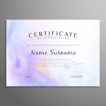 Purple certificate of appreciation template