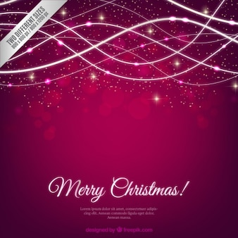 Purple christmas background with sparkling waves