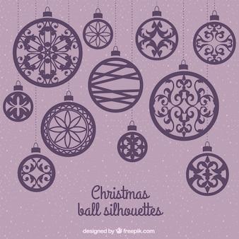 Purple christmas balls silhouettes