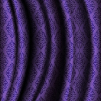 Purple cloth background with ornaments
