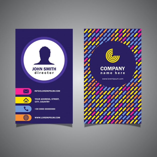 Purple corporate card with full color shapes