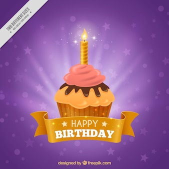 Purple cupcake background with candle