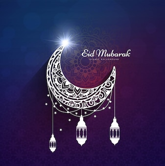 Purple design for eid mubarak