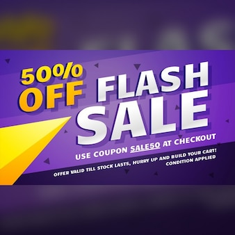 Purple discount voucher with yellow shapes
