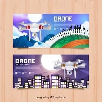 Purple drone banners