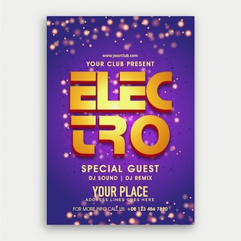 Purple electro party flyer