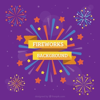 Purple fireworks background in flat design