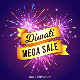 Purple fireworks background with diwali sale ribbon
