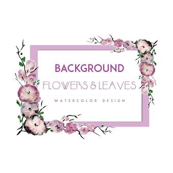 Purple flower frame background