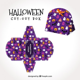 Purple halloween box with bats and ghosts