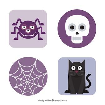 Purple halloween elements