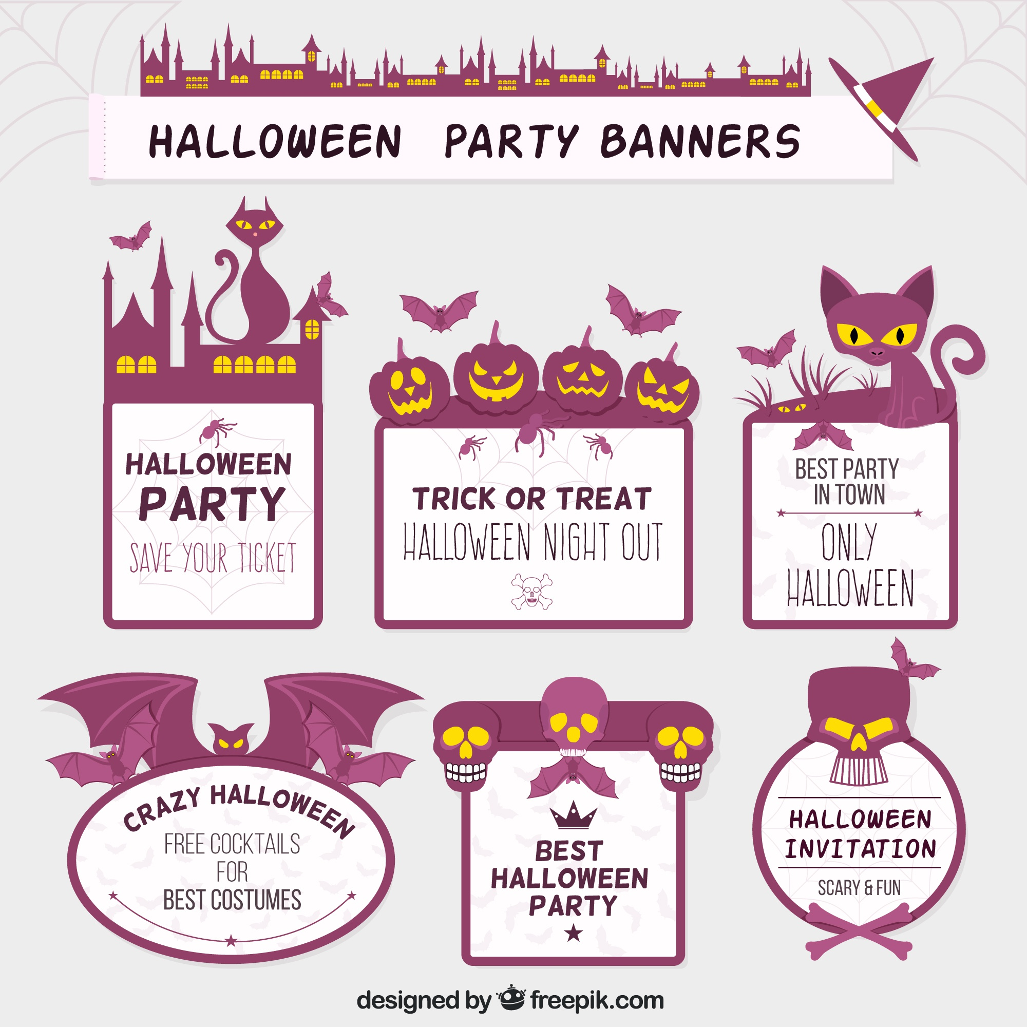 Purple halloween labels