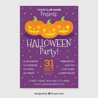 Purple halloween party poster with three pumpkins