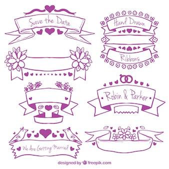 Purple hand drawn wedding ribbons set