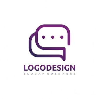 Purple logo with chat bubbles