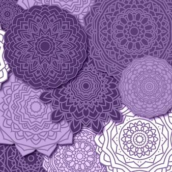 紫の曼荼羅パターンの背景