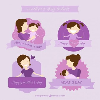 Purple mother's day labels