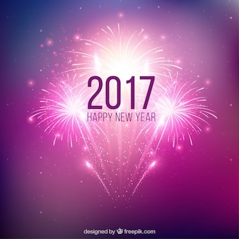 Purple new year fireworks background