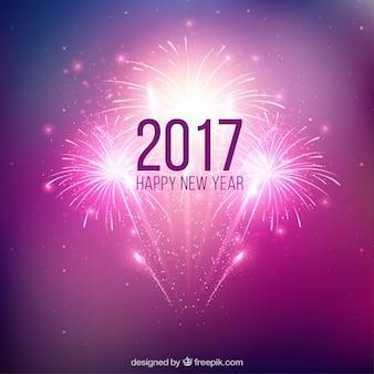 パープル新しい年の花火の背景