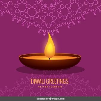 Purple ornamental Diwali greeting