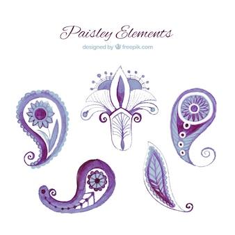 Purple paisley elements