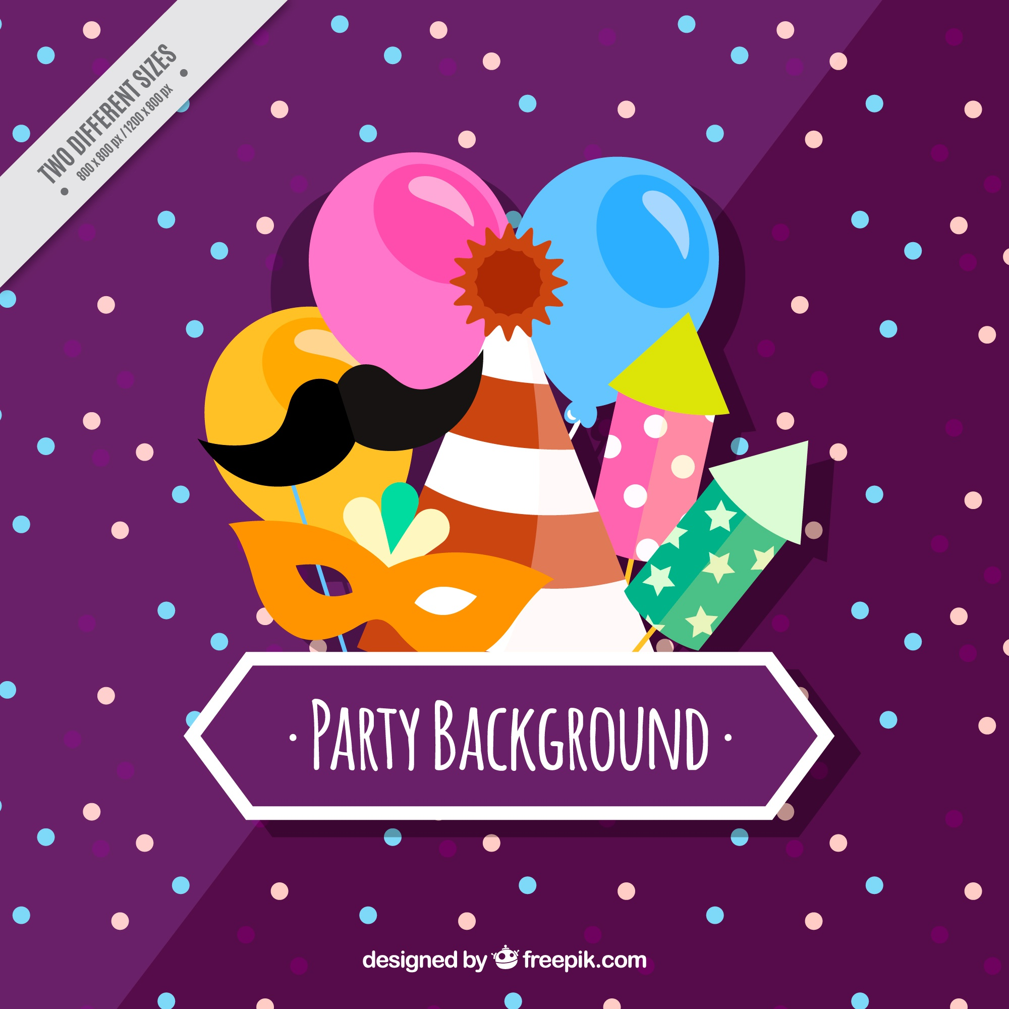 Purple party background with colorful items