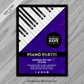 Purple party poster with a piano