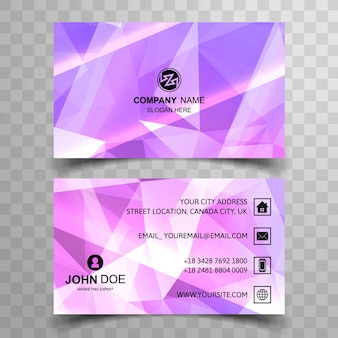 Purple polygonal visiting card template